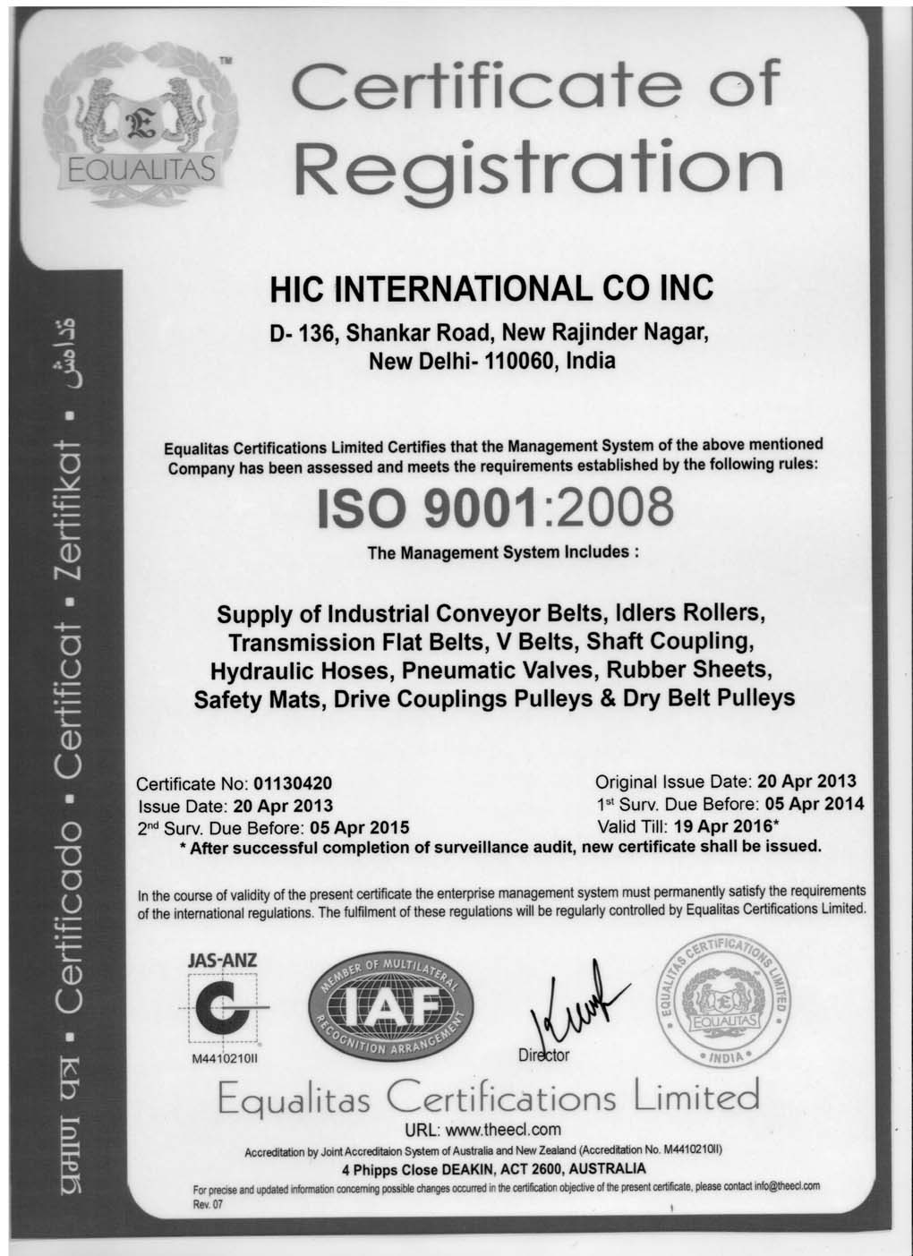 ISO Certified HIC International Company India